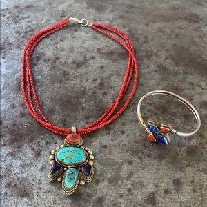 Turquoise, Coral & Lapis Necklace & Bracelet Set